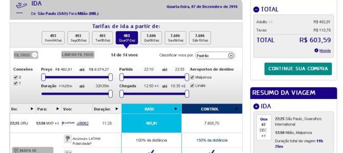 De São Paulo para Europa por R$ 493